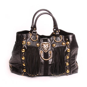 GUCCI Black Leather Babouska Suede Fringe Satchel 207301