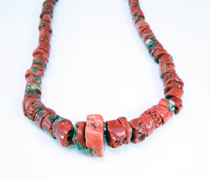 Red Bamboo Coral Heishi Beads Necklace Santo Domingo Native American Necklace