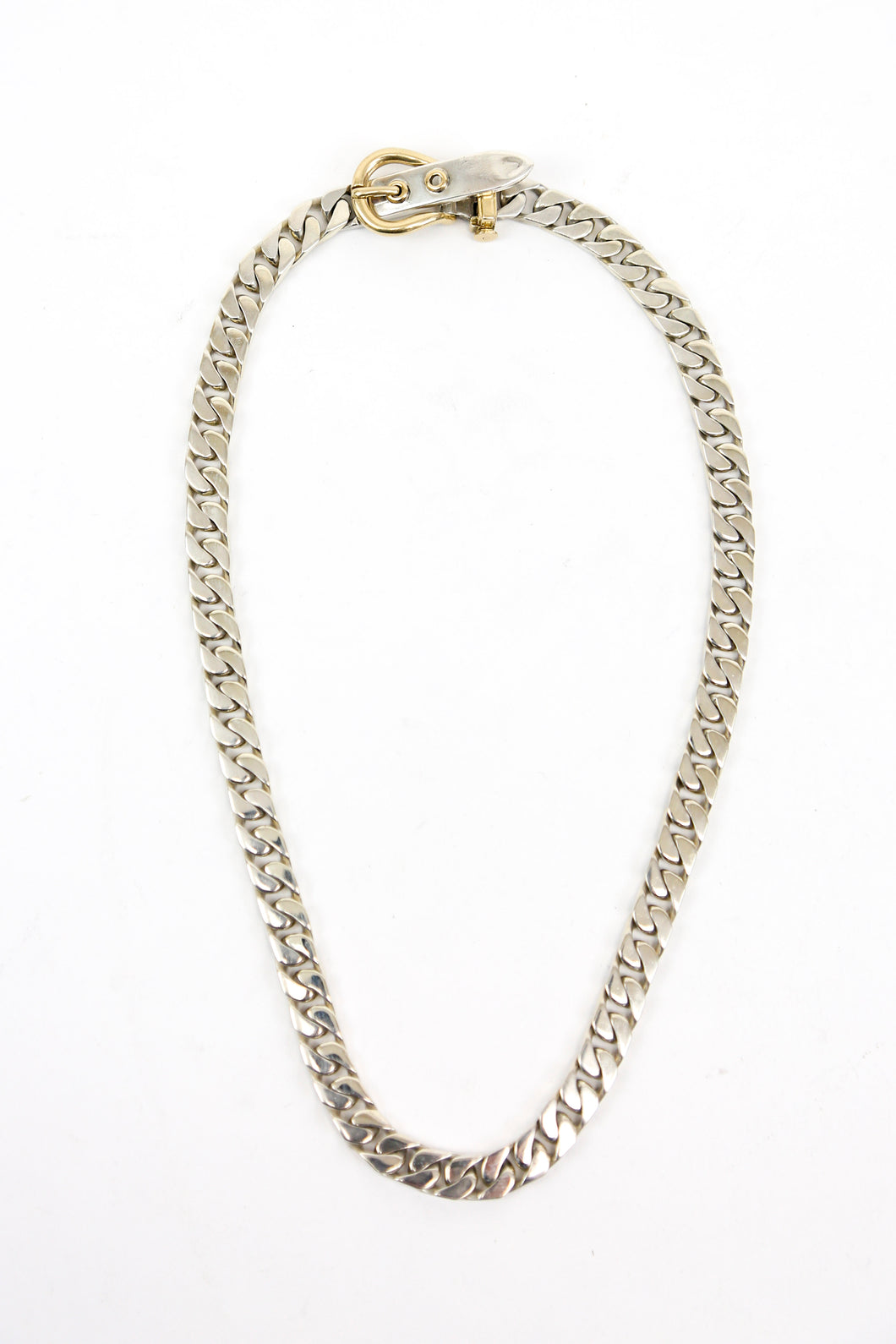 Hermès Sterling Silver and 18k Gold Boucle Sellier Necklace 16