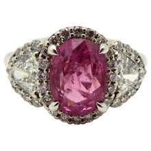 Load image into Gallery viewer, 14 Karat White Gold GIA Certified Pink Sapphire and Diamond Ring, Size 6.75