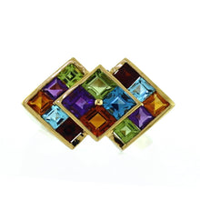 Load image into Gallery viewer, 14KP Yellow Gold Multi Gemstone 3-Square Geometric Cluster Style Ring - Sz. 8½