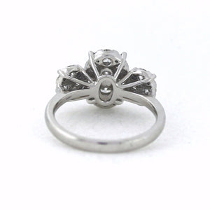 18K White Gold 1.39ctw Multi Stone Trilogy Style Diamond Engagement Ring - Sz. 6¼