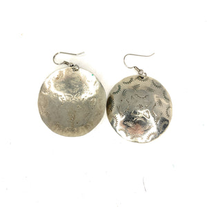Native American Navajo Sterling Silver Disc Earrings