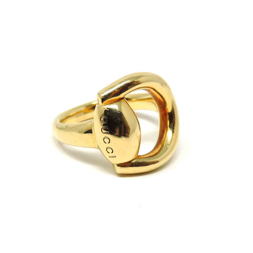Luxury Stylish Gucci Horsebit 18K Yellow Gold Ring, Size 6.5