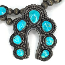 Load image into Gallery viewer, Native American Zuni Sterling Silver & Turquoise Squash Blossom Necklace