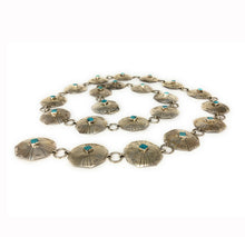 Load image into Gallery viewer, Vintage Navajo Sterling Silver Turquoise Cabochon Concho Belt