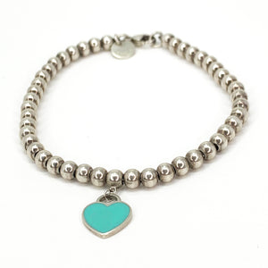 Tiffany & Co. Return To Tiffany Sterling Silver Blue Enamel Mini Heart Tag Bead Bracelet