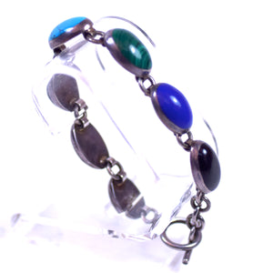 Sterling Silver and Multicolor Stone LDS Bracelet with Lapis Lazuli, Onyx, Malachite, and Turquoise