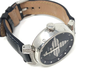 Louis Vuitton Tambour Forever MM Quartz Enamel Leather Ladies Watch