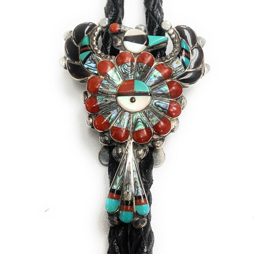 Vintage 60's Zuni Sterling Silver Multi-Stone Inlay Thunderbird Bolo Tie - Signed