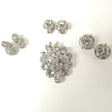 Load image into Gallery viewer, Eisenberg and Weiss Silver-Tone Crystal Earrings and Brooch Pieces
