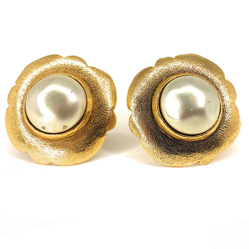 Vintage Chanel Gold Plated Faux Pearl Clip-On Costume Earrings