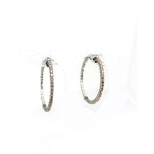 Load image into Gallery viewer, 18K White Gold and Prong-set Diamond Inside-Out Hoop Earrings
