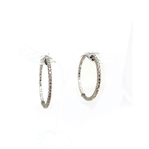 18K White Gold and Prong-set Diamond Inside-Out Hoop Earrings