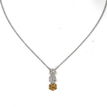 Load image into Gallery viewer, GORGEOUS 18K White Gold Necklace w/ Radiant Fancy Yellow Diamond Floating Pendant