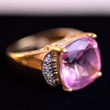 Load image into Gallery viewer, 14 Karat Gold and Pink Quartz Stone Ring, Size 4.75