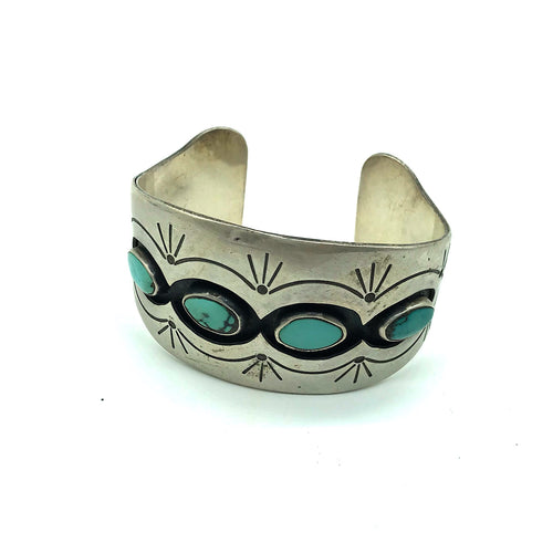 Vintage Sterling Silver Hopi Turquoise Shadow Box Cuff Bracelet