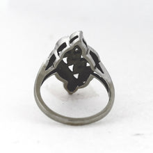 Load image into Gallery viewer, Vintage 14K White Gold Diamond Triple Row Leaf Ring - Sz. 4