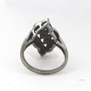 Vintage 14K White Gold Diamond Triple Row Leaf Ring - Sz. 4