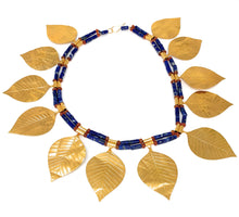 Load image into Gallery viewer, Sumerian 14K Gold Leaves Lapis Lazuli & Carnelian Bead Necklace