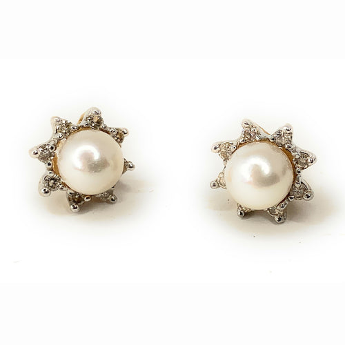 Vintage Akoya Pearl & Diamond 14K Yellow Gold Stud Earrings
