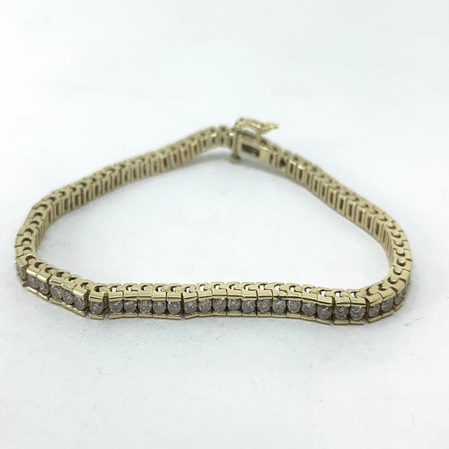 Stunning Ladies Classic Box Style 14K Gold and Diamond Tennis Bracelet