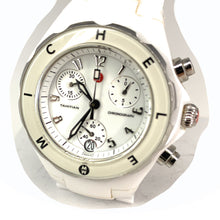 Load image into Gallery viewer, MICHELE Tahitian Diamond Bezel White Ceramic Chronograph Women's Watch - MWW12A000002