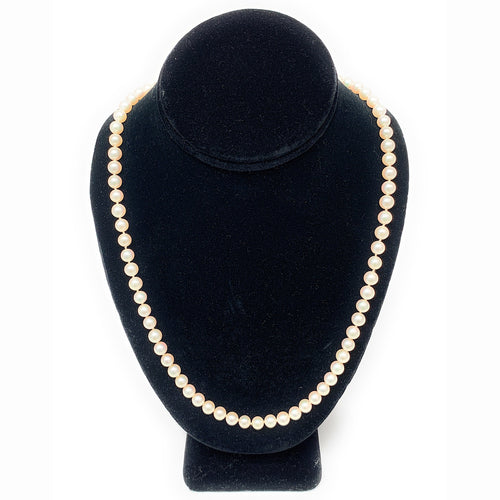 Vintage MIKIMOTO Single Strand Akoya Pearl Necklace 18K Yellow Gold Clasp