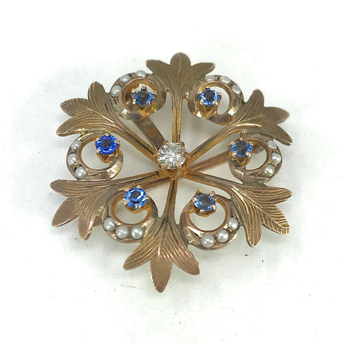 Antique 10K Yellow Gold Diamond, Sapphire & Pearl Snowflake Pin Brooch