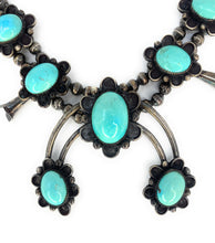 Load image into Gallery viewer, Native American Sterling Silver Sleeping Beauty Turquoise Squash Blossom Necklace