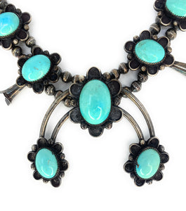 Native American Sterling Silver Sleeping Beauty Turquoise Squash Blossom Necklace