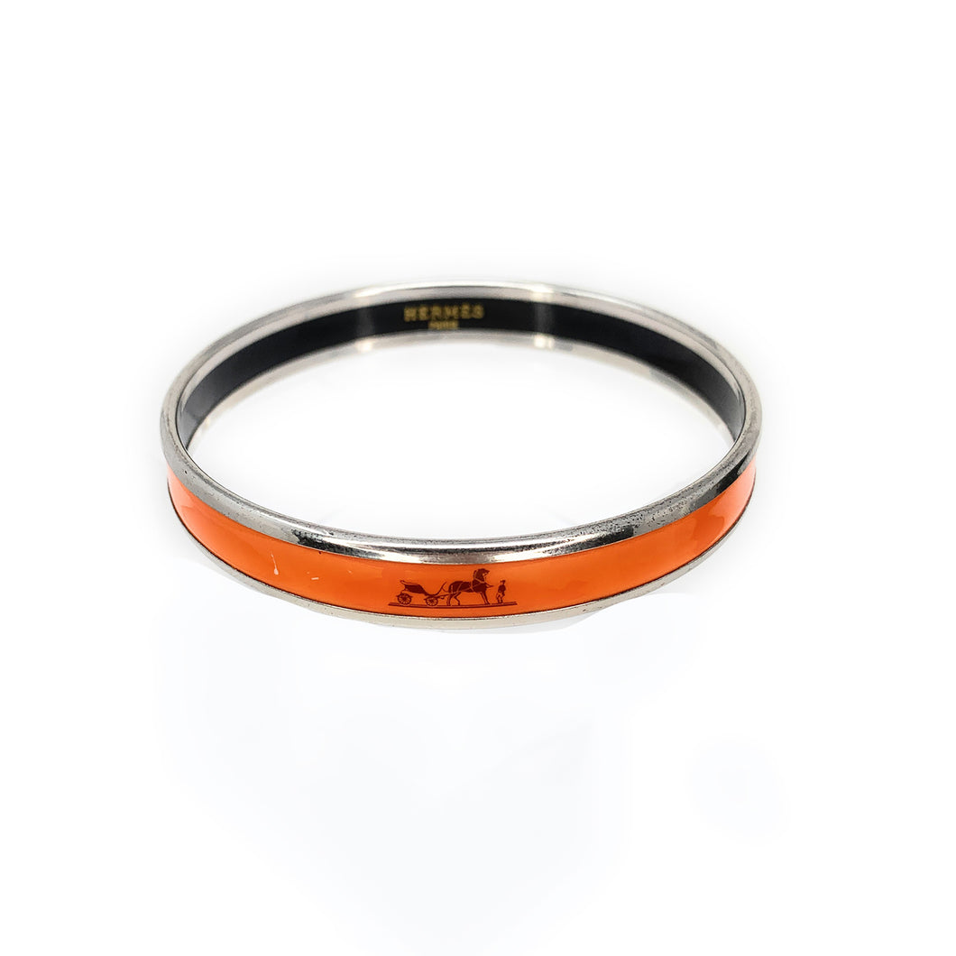 Hermès Orange Enamel Palladium Plated Narrow Caleche Bracelet