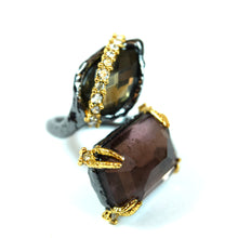 Load image into Gallery viewer, Alexis Bittar Costume Black Gold Tone White Rhinestone and Green and Pink Crystal Ring, Size 6