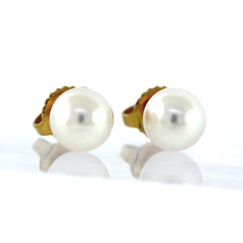 Tiffany & Co. 18K Yellow Gold Akoya Pearl Stud Earrings