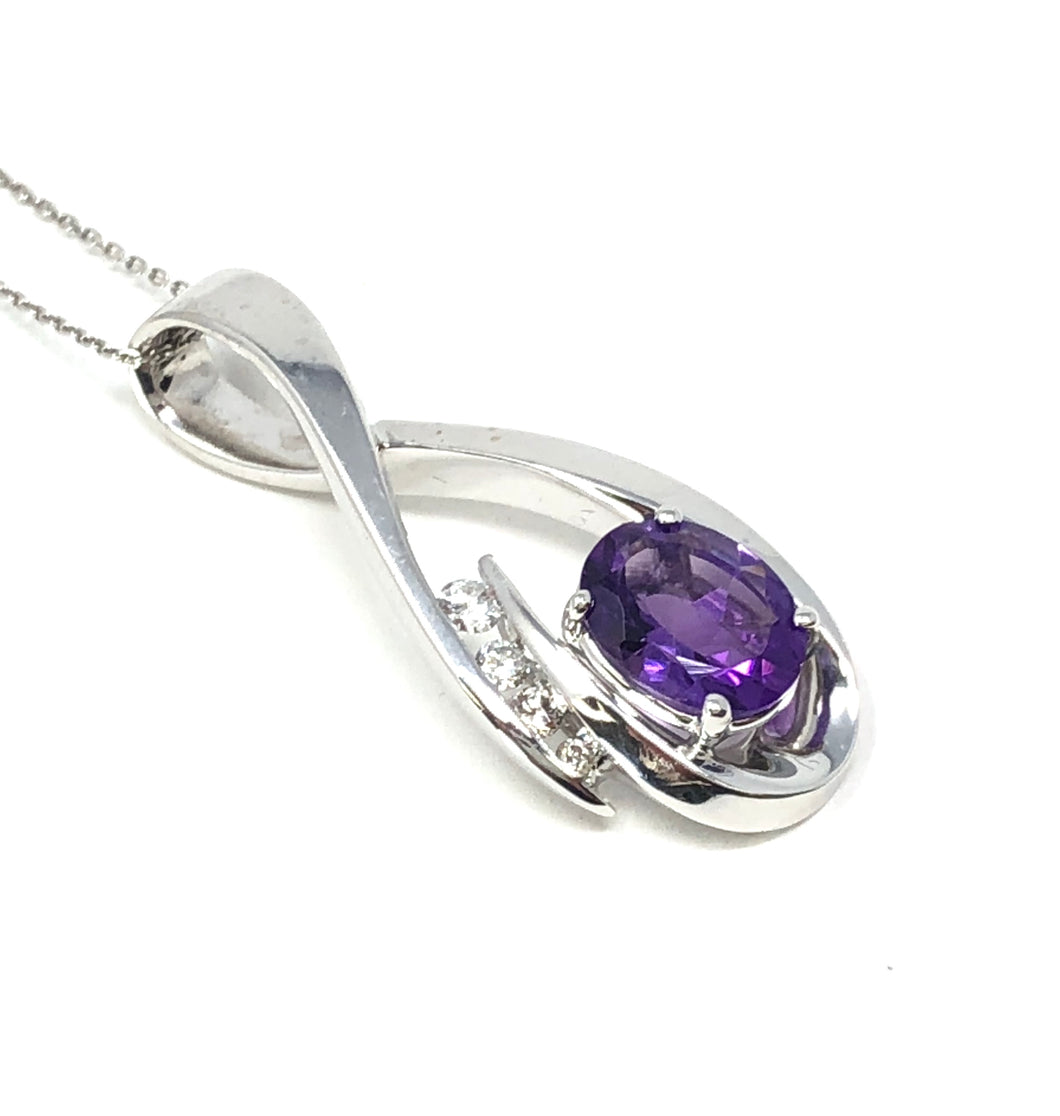 14K White Gold 1.38ct Amethyst Oval 0.10ctw Diamond Necklace Pendant