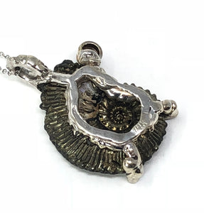 Hematite Ammonite Brown Diamond 14K White Gold Pendant Necklace
