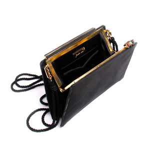 Judith Leiber Vintage Black Satin Tassel Shoulder Clutch
