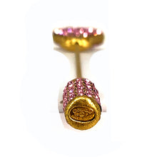 Load image into Gallery viewer, Vintage 14K Chanel Heart rhinestone pink gradient pin brooch