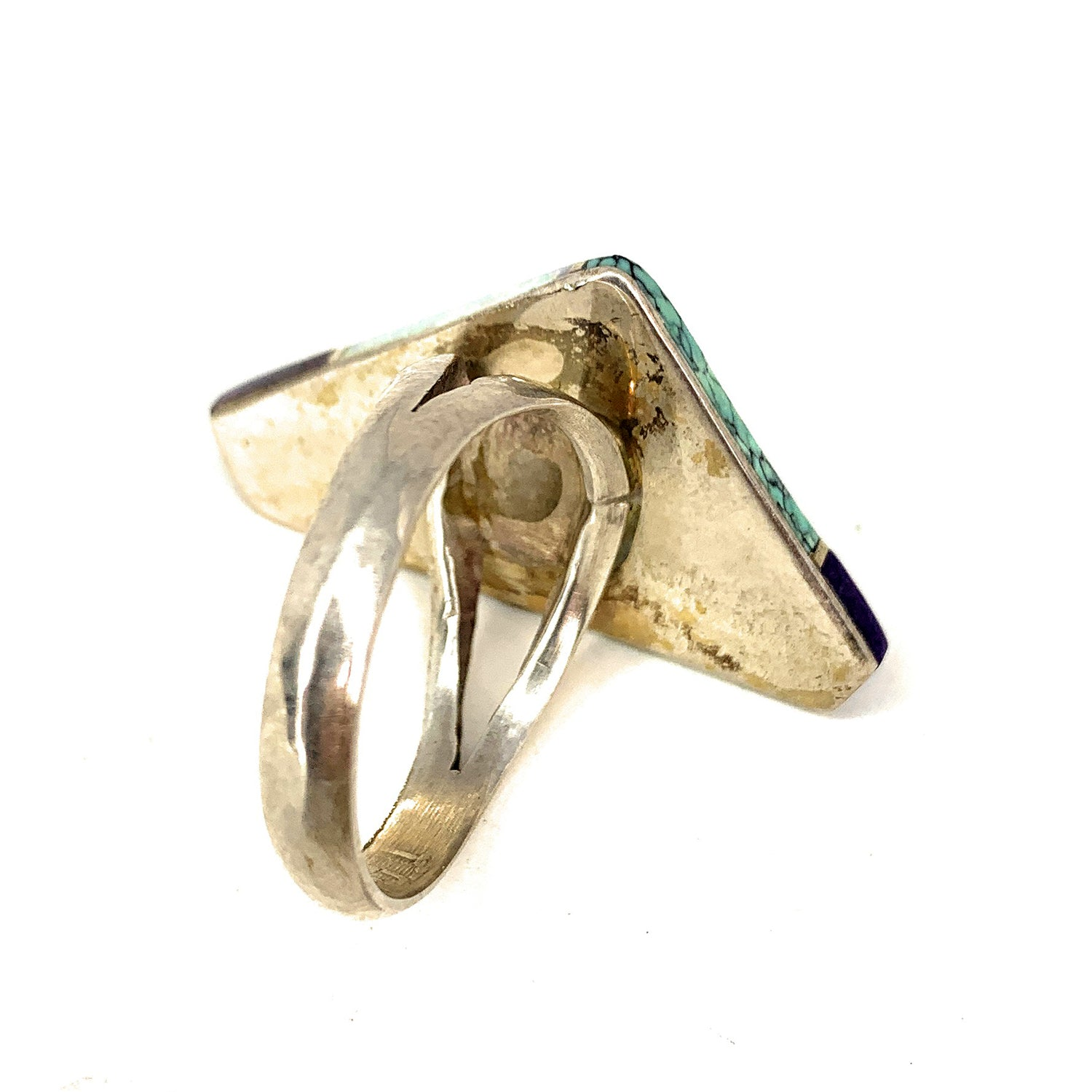 Vintage ZUNI Sterling Silver Multi Stone Cobble Inlay Ring - Sz. 10<