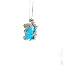 Load image into Gallery viewer, 14K White Gold Diamond and Synthetic Turquoise Etruscan Style Pendant Necklace