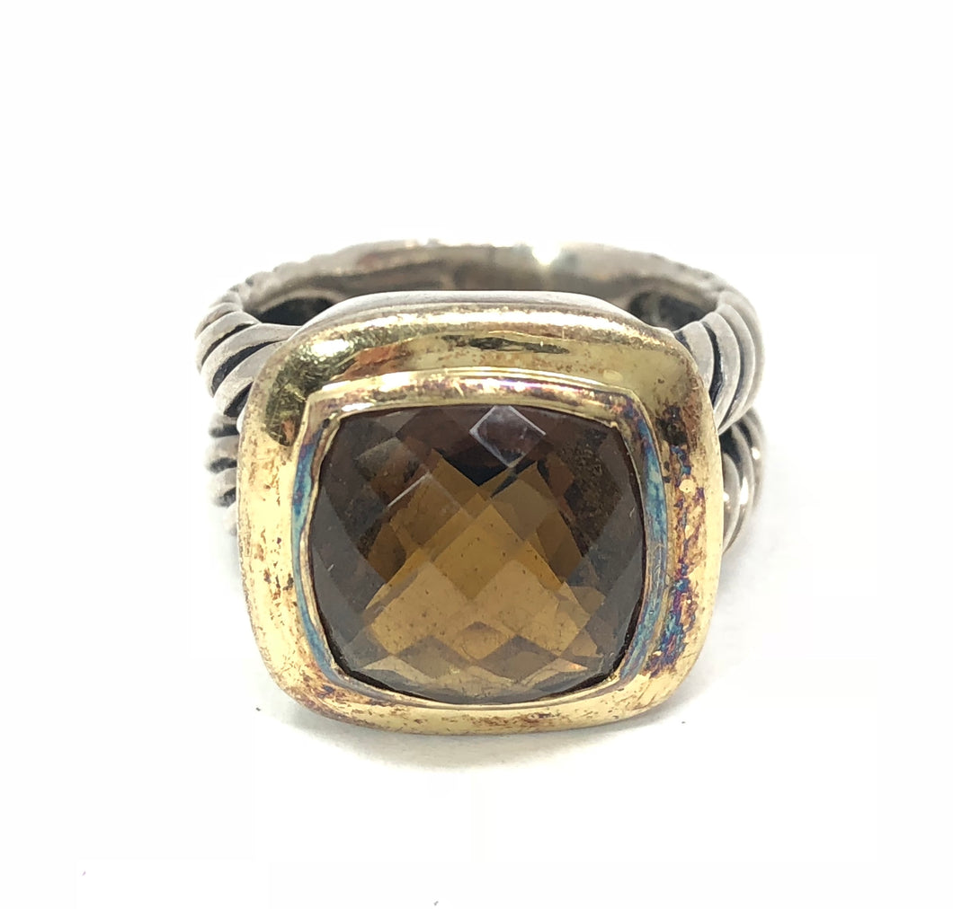David Yurman 925 Sterling Silver 18K Gold Citrine Albion Ring