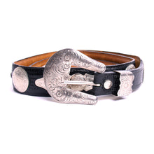 Load image into Gallery viewer, Al Beres Sterling Silver Plated Black Snakeskin Style Leather Belt