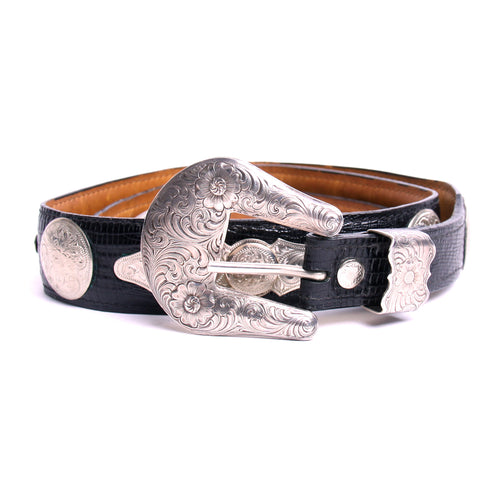 Al Beres Sterling Silver Plated Black Snakeskin Style Leather Belt