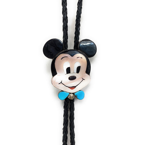 Vintage Handmade Sterling Silver Multi Stone Inlay Mickey Mouse Bolo Tie