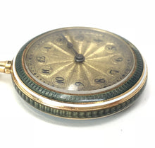 Load image into Gallery viewer, 14K Yellow Gold Guilloche Diamond Enamel Pocket Watch Pendant