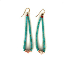 Load image into Gallery viewer, Native American Santo Domingo Hand Beaded Turquoise & Heishi Shell Dangle Earrings
