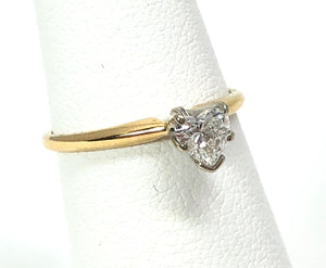 Estate 0.30ct Diamond Heart 14K Yellow / White Gold Ring Size 5.5