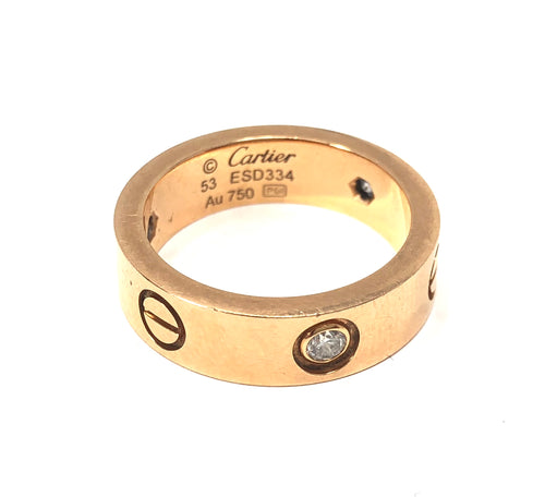 Cartier 18K Rose Gold 0.22ctw Diamond Love Ring Size 6.5