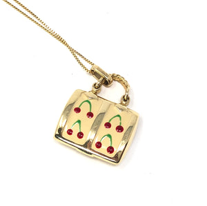 Milros Italy 14K Yellow Gold Red Cherry & Yellow Enamel Purse Pendant Necklace