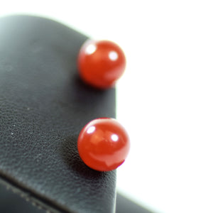 14 Karat Yellow Gold and Red Jadeite Stud Earrings
